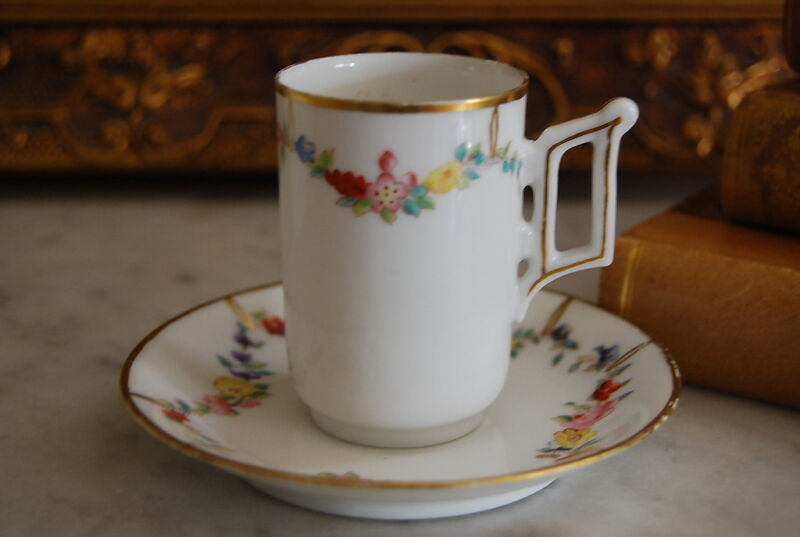 WONDERFUL T & V LIMOGES HAND PAINTED FLOWERS GARLANDS CHOCOLATE  CUP & SAUCER #1