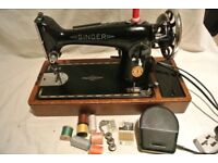 Singer 201K SEMI-INDUSTRIAL sewing machine with INSTRUCTIONS (see sewn Sample