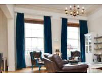 4x Large blackout 310cm drop blue/green curtains for two windows