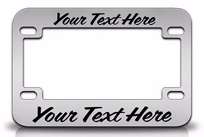 CUSTOM PERSONALIZED (METAL) Chrome MOTORCYCLE License Plate Frame Black FONT - Personalized License Plate Frame