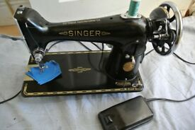 Singer 201K SEMI-INDUSTRIAL Electric machine (see 4 layers Blue Leather Sample