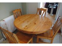 Ikea Wooden (Expanding) Dining Table and 4 chairs
