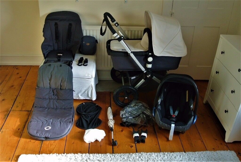 Bugaboo Cameleon 3 -in-1 pram in charcoal grey & off white with lots of extras & Maxi Cosi car seat