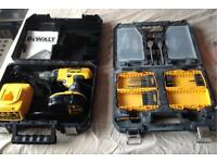 Dewalt DC729 18v Power Drill, battery and charger. +plus the remains of a drill bit set