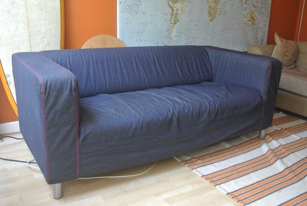 Ikea Klippan Two 2 Seater Sofa Blue Denim And Green Covers