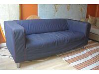 Ikea Klippan Two 2 Seater Sofa - Blue Denim and Green Covers