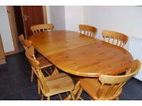 Antique Pine dining table and 4 chairs & two carvers.