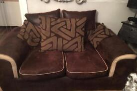 Brown 2 & 3 sofa with foot stool