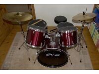 "Five Piece Stagg Drum Kit c/w Vic Firth Mutes and Paiste 20"" Ride"