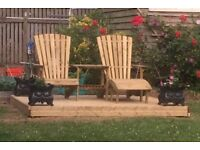 Wooden Garden Companion Love Seat Bench With Centre Table And Footrest