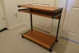 Beech wood office desk with keyboard tray, printer shelf & wheels (very good condition)