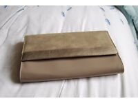 silver Beige clutch bag