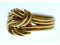 GORGEOUS 9CT SOLID GOLD VICTORIAN MEN'S KNOT RING SIZE S FULLY HALLMARKED MADE IN ENGLAND WORK ART