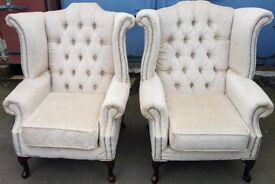2 x Beige / Golden Chesterfield Wing Chairs made from fabric, REF: 1