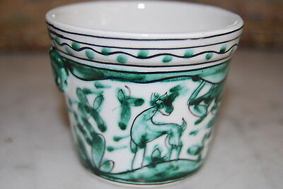 WONDERFUL MINIATURE HAND PAINTED GREEN JARDINIERE DONE IN A PRIMITIVE STYLE  #2