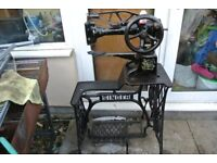 29K15 LEATHER PATCHER SEWING MACHINE COMPLETE HEAD AND TREADLE STAND