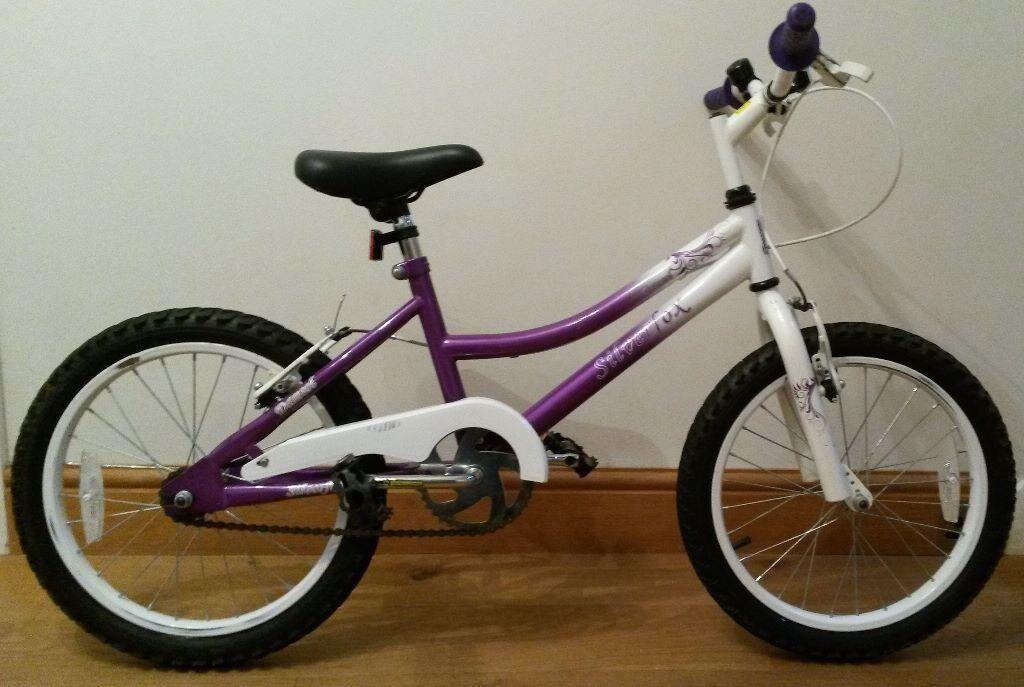 Silverfox damsel girls purple and white bike