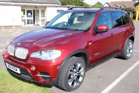 "BMW x5 xDrive40D 2011 Metallic Red black leather 20"" wheels sunroof + cameras"