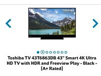 "Brand NEW Toshiba 43"" smart 4k ultra hD TV with HDR"