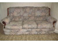 3 Seater Settee, Armchair, Matching Wooden Frame Chair and Footstool in Very Good Condition