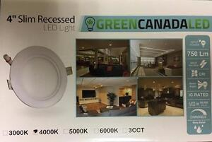 4'' LED Slim Panel / Recessed light Dimmable 6W = 60W cUL Certified IC Rated (Free Shipping Inside Ontario)