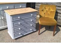 Solid Pine Chest of Drawers in Vintage grey *DELIVERY INC* Shabby Chic