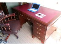 Antique Style Writing / Office Desk, with matching Chesterfield Captain Chair.