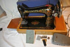 Beautiful Rare Singer 66 'Red Eye' Sewing Machine, Heavy duty Hand Crank Vintage