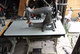 SINGER 45K89 CYLINDER ARM HEAVY DUTY Machine(4 LAYERS OF VEG TAN LEATHER SAMPLE SEWN)