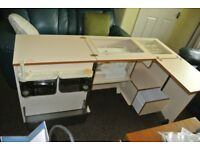 Horn Sewing Machine Cabinet with Overlock space