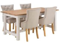 Home of Style Sherington Dining Table & 4 Upholstered Chairs