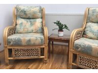 Wicker chair set. Two singles and one double