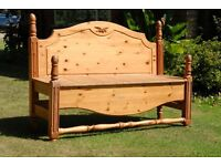 Pine Bench made of reconstructed double bed