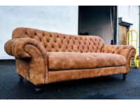 BRAND NEW 3-4 seater chesterfield leather distressed sofa DELIVERY AVAILABLE