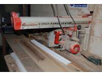 Cross cut saw. Radial arm saw. POWER RADIAL ARM SAW.