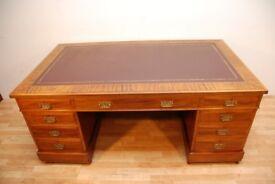 Antique Edwardian Large Partners Mahogany Writing Pedestal desk