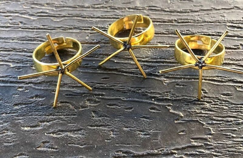 3 Brass Rings With Prongs For Stones Adjustable Size 7-9 Jewelry Making Crafts