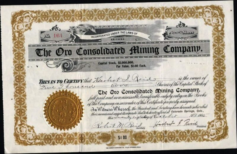 CRIPPLE CREEK, CO: ORO CONSOLIDATED MINING CO, 1905, UNCANCELLED STOCK CFT.