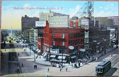 Buffalo, NY 1910 Postcard: Main & Niagara Streets / Downtown - New York Niagara Street Buffalo