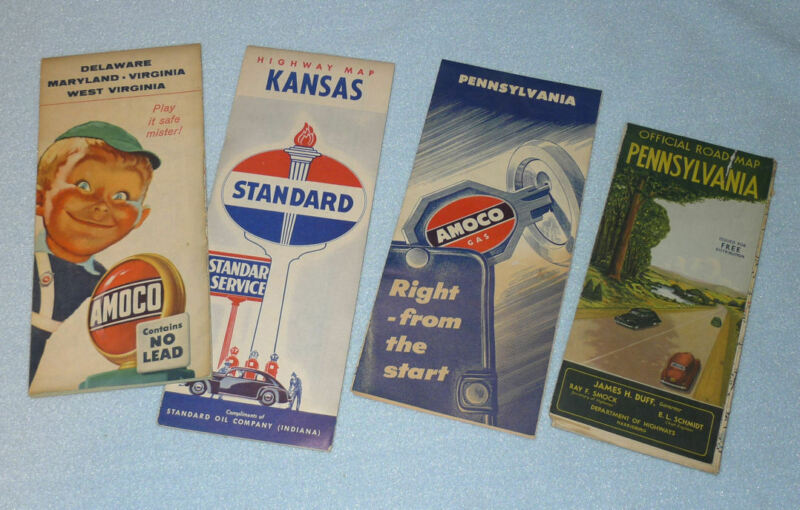 Lot of Vintage Gas & Oil Road Maps, Old Amaco & Standard Advertising 30