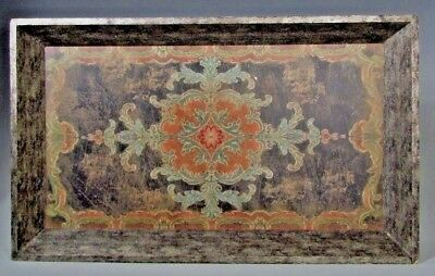 Fine Old Dutch Northern Europe Wood Polychrome painted Tray w/ Floral Decoration