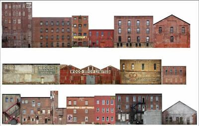 #401 HO scale 16 background buildings COMMERCIAL BACKS WITHOUT FOAM CORE