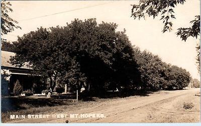 RPPC  MT. HOPE, Kansas  KS    MAIN STREET West  Dirt Street  c1910s  Postcard
