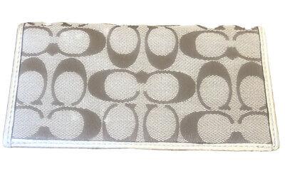 Coach signature checkbook cover case holder Brown -