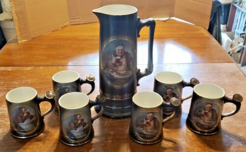 VTG LAUGHLIN ART CHINA FRIAR MONK BEER TANKARD PITCHER W/ 6 BEER STEIN MUGS