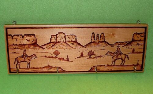 PHIL YAZZIE Native American NAVAJO folk art on wood plaque w/ small metal hooks.