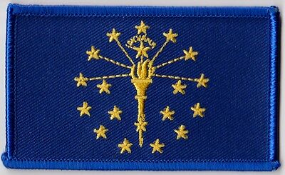 Indiana State Flag Patch 3 1/2 x 2  Embroidered Patch New Free Shipping