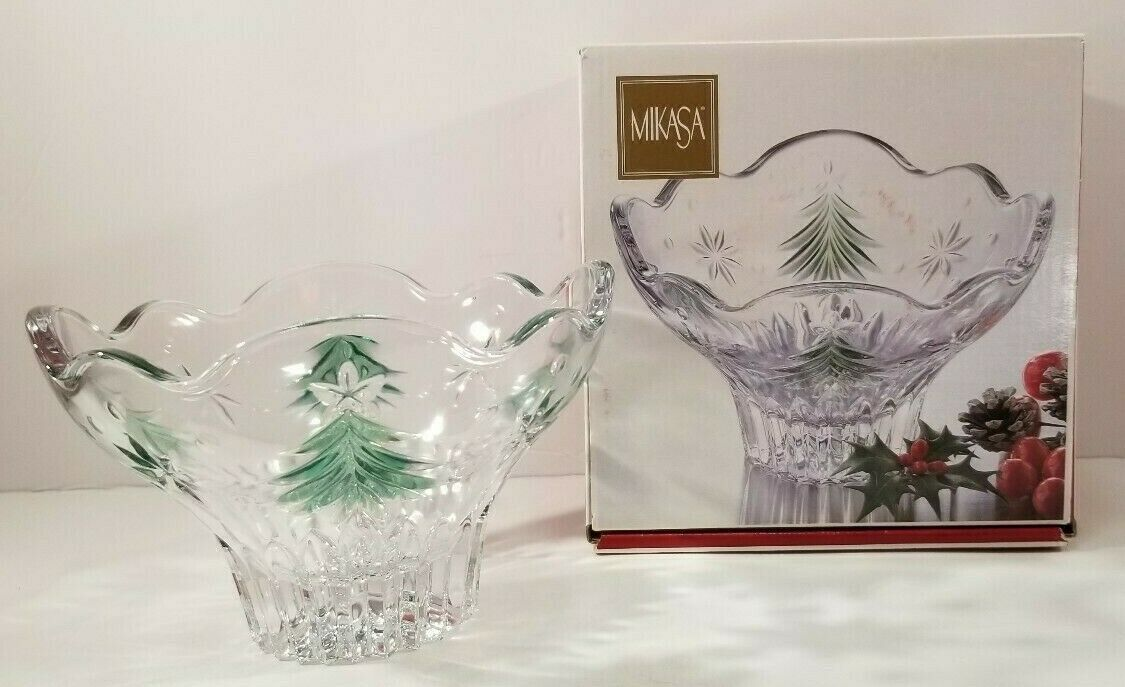Candy Dish Celebrations By Mikasa Candy Dish Green Glass  NEW NIB