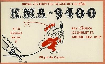 QSL Card MASSACHUSETTS MA Boston KMA9400 Royal 73s from palace King of Crystals
