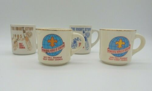 Vintage Lot of 4 Boy Scout Collectable Ceramic Mugs The Right Stuff 70s 80s